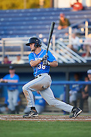 Hudson Valley Renegades third baseman Jim Haley (38) at bat during a game against the Batavia Muckdogs on August 2, 2016 at Dwyer Stadium in Batavia, New York.  Batavia defeated Hudson Valley 2-1.  (Mike Janes/Four Seam Images)