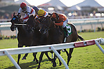 AUG 10,2014:Moulin de Mougin,ridden by Mike Smith,(saddle number 5)wins the Jonh C. Mabee Stakes at Del Mar in Del Mar,CA. Kazushi Ishida/ESW/CSM