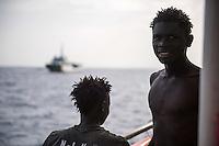 Sea Watch-2.<br /> Die Sea Watch-2 bei ihrer 13. SAR-Mission vor der libyschen Kueste.<br /> Die Sea Watch-2 hat am 22. Oktober 2016 knapp 200 Menschen an Bord aufgenommen. Sie mussten bis zum naechsten Tag auf dem Deck ausharren, bis ein Frontex-Schiff der spanischen Marine kam um sie nach Italien zu bringen.<br /> 23.10.2016, Mediterranean Sea<br /> Copyright: Christian-Ditsch.de<br /> [Inhaltsveraendernde Manipulation des Fotos nur nach ausdruecklicher Genehmigung des Fotografen. Vereinbarungen ueber Abtretung von Persoenlichkeitsrechten/Model Release der abgebildeten Person/Personen liegen nicht vor. NO MODEL RELEASE! Nur fuer Redaktionelle Zwecke. Don't publish without copyright Christian-Ditsch.de, Veroeffentlichung nur mit Fotografennennung, sowie gegen Honorar, MwSt. und Beleg. Konto: I N G - D i B a, IBAN DE58500105175400192269, BIC INGDDEFFXXX, Kontakt: post@christian-ditsch.de<br /> Bei der Bearbeitung der Dateiinformationen darf die Urheberkennzeichnung in den EXIF- und  IPTC-Daten nicht entfernt werden, diese sind in digitalen Medien nach §95c UrhG rechtlich geschuetzt. Der Urhebervermerk wird gemaess §13 UrhG verlangt.]