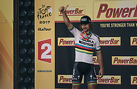 stage winner / World Champion Peter Sagan (SVK/Bora-Hansgrohe) taking to the stage<br /> <br /> 104th Tour de France 2017<br /> Stage 3 - Verviers › Longwy (202km)