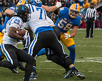 Pitt linebacker Quintin Wirginis (58). The Pitt Panther defeated the Duke Blue Devils 56-14 at Heinz Field in Pittsburgh, Pennsylvania on November 19, 2016.