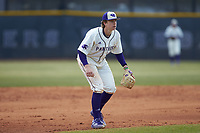 High Point Panthers third baseman Peyton Carr (41) on defense against the Bryant Bulldogs at Williard Stadium on February 21, 2021 in  Winston-Salem, North Carolina. The Panthers defeated the Bulldogs 3-2. (Brian Westerholt/Four Seam Images)