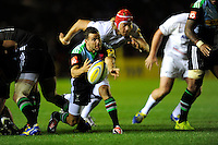 Karl Dickson of Harlequins passes during the Premiership Rugby Round 2 match between Harlequins and Saracens at The Twickenham Stoop on Friday 12th September 2014 (Photo by Rob Munro)