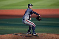 Florida Atlantic Owls relief pitcher Sam Drumheller (42) in action against the Charlotte 49ers at Hayes Stadium on April 2, 2021 in Charlotte, North Carolina. The 49ers defeated the Owls 9-5. (Brian Westerholt/Four Seam Images)