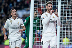 Lucas Vazquez and Sergio Ramos of Real Madrid celebrating a goal during King's Cup 2018-2019 match between Real Madrid and CD Leganes at Santiago Bernabeu Stadium in Madrid, Spain. January 09, 2019. (ALTERPHOTOS/Borja B.Hojas)