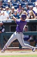 TCU Horned Frogs outfielder Austen Wade (8) swings the bat against the Texas Tech Red Raiders in Game 3 of the NCAA College World Series on June 19, 2016 at TD Ameritrade Park in Omaha, Nebraska. TCU defeated Texas Tech 5-3. (Andrew Woolley/Four Seam Images)