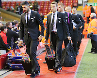 Liverpool's Emre Can and Simon Mignolet arrive before the Barclays Premier League match between Liverpool and Swansea City played at The Anfield Stadium on November 29th 2015