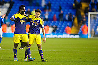 Saturday 25 January 2014<br /> Pictured: ( L-R ) Wilfried Bony and Neil Taylor after the game <br /> Re: Birmingham City v Swansea City FA Cup fourth round match at St. Andrew's Birimingham