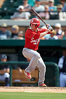 Florida Southern Moccasins pinch hitter Ryan Frost (1) at bat during an exhibition game against the Detroit Tigers on February 29, 2016 at Joker Marchant Stadium in Lakeland, Florida.  Detroit defeated Florida Southern 7-2.  (Mike Janes/Four Seam Images)