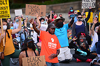 Washington, DC - June 15, 2020: Protesters block a section of Interstate 395/695 in Washington, DC June 15, 2020 to call for police justice and reform in the wake of the police killing of George Floyd in Minnesota.  (Photo by Don Baxter/Media Images International)