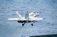 "- launch of a F 18 ""Hornet"" fighter bomber aircraft on Roosevelt aircraft carrier....- lancio di un cacciabombardiere F 18 ""Hornet"" a bordo della portaerei Roosevelt  .."