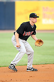June 12th 2008:  Shortstop Brian Bixler of the Indianapolis Indians, Class-AAA affiliate of the Pittsburgh Pirates, during a game at Fifth Third Field in Toledo, OH.  Photo by:  Mike Janes/Four Seam Images