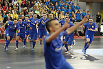 Ugra Yugorsk's players celebrate the victory in the UEFA Futsal Cup 2015/2016 Semifinal match. April 22,2016. (ALTERPHOTOS/Acero)
