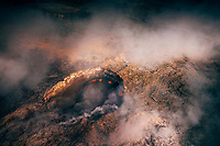 View from a helicopter flying over Pu'u 'O'o Crater, Kilauea Volcano, Hawai'i Island.