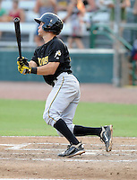 Infielder Andrew Maggi (33) of the West Virginia Power, Class A affiliate of the Pittsburgh Pirates, in a game against the Savannah Sand Gnats on July 21, 2011, at Grayson Stadium in Savannah, Georgia. (Tom Priddy/Four Seam Images)
