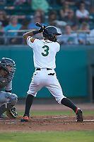 Leody Taveras (3) of the Down East Wood Ducks at bat against the Winston-Salem Dash at Grainger Stadium Field on May 17, 2019 in Kinston, North Carolina. The Dash defeated the Wood Ducks 8-2. (Brian Westerholt/Four Seam Images)