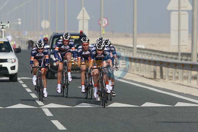 Champion System team in action during the 2nd Stage of the 2012 Tour of Qatar an 11.3km team time trial at Lusail Circuit, Doha, Qatar. 6th February 2012.<br /> (Photo Eoin Clarke/Newsfile)