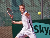 Netherlands, Amstelveen, August 23, 2015, Tennis,  National Veteran Championships, NVK, TV de Kegel,  Final men's  35+, Dennis Bank<br /> Photo: Tennisimages/Henk Koster