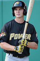 Outfielder Daniel Grovatt (22) of the West Virginia Power, Class A affiliate of the Pittsburgh Pirates, prior to a game against the Savannah Sand Gnats on July 21, 2011, at Grayson Stadium in Savannah, Georgia. (Tom Priddy/Four Seam Images)