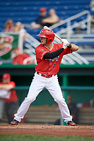 Batavia Muckdogs right fielder Michael Donadio (7) at bat during a game against the Auburn Doubledays on September 2, 2018 at Dwyer Stadium in Batavia, New York.  Batavia defeated Auburn 5-4.  (Mike Janes/Four Seam Images)