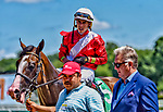 July 13, 2019 :  By Your Side #5, ridden by Irad Ortiz, wins the Sanford Stakes during racing at Saratoga Race Course in Saratoga Springs, New York. Alex Zhang/Eclipse Sportswire/CSM