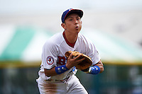 Buffalo Bisons second baseman Munenori Kawasaki (66) catches a infield popup during a game against the Columbus Clippers on July 19, 2015 at Coca-Cola Field in Buffalo, New York.  Buffalo defeated Columbus 4-3 in twelve innings.  (Mike Janes/Four Seam Images)
