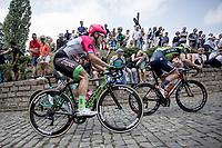 GC Leader Matej Mohoric (SLO/Bahrain Merida) and Sebastian Langeveld (NED/EF Drapac Cannondale) up the infamous Kapelmuur. <br /> <br /> Binckbank Tour 2018 (UCI World Tour)<br /> Stage 7: Lac de l'eau d'heure (BE) - Geraardsbergen (BE) 212.7km