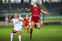 England's Tom Duggan Spain's Irene Paredes during the frendly match between woman teams of  Spain and England at Fernando Escartin Stadium in Guadalajara, Spain. October 25, 2016. (ALTERPHOTOS/Rodrigo Jimenez) /NORTEPHOTO.COM