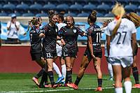 BRIDGEVIEW, IL - JUNE 5: Nikki Stanton #7, Morgan Gautrat #13, Alyssa Mautz #4, and Sarah Gorden #11 of the Chicago Red Stars celebrate after a game between North Carolina Courage and Chicago Red Stars at SeatGeek Stadium on June 5, 2021 in Bridgeview, Illinois.