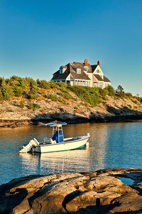 House and boat along Ocean Drive, Newport, RI, Rhode Island, USA