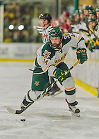 20 February 2016: University of Vermont Catamount Forward Kevin Irwin, a Sophomore from Akron, Ohio, in second period action against the Boston College Eagles at Gutterson Fieldhouse in Burlington, Vermont. The Eagles defeated the Catamounts 4-1 in the second game of their weekend series. Mandatory Credit: Ed Wolfstein Photo *** RAW (NEF) Image File Available ***