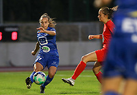 Jasmien Mathys (12) of KAA Gent in action during a female soccer game between FC Femina White Star Woluwe and KAA Gent Ladies on the third match day in the 2021 - 2022 season of Belgian Scooore Womens Super League , Friday 3 th of September 2021  in Woluwe , Belgium . PHOTO SPORTPIX   SEVIL OKTEM