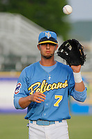 Myrtle Beach Pelicans infielder Daniel Lockhart (7) before a game against the Wilmington Blue Rocks at Ticketreturn.com Field at Pelicans Ballpark on April 10, 2015 in Myrtle Beach, South Carolina.  Wilmington defeated Myrtle Beach 8-3. (Robert Gurganus/Four Seam Images)