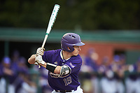 Daniel Walsh (19) of the Western Carolina Catamounts at bat against the St. John's Red Storm at Childress Field on March 12, 2021 in Cullowhee, North Carolina. (Brian Westerholt/Four Seam Images)