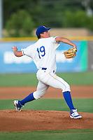 Burlington Royals starting pitcher Garrett Davila (19) in action against the Kingsport Mets at Burlington Athletic Stadium on July 18, 2016 in Burlington, North Carolina.  The Royals defeated the Mets 8-2.  (Brian Westerholt/Four Seam Images)