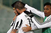 Calcio, Serie A: Fiorentina vs Juventus. Firenze, stadio Artemio Franchi, 24 aprile 2016.<br /> Juventus' Alvaro Morata, left, celebrates with teammates Leonardo Bonucci, center, and Alex Sandro, after scoring the winning goal during the Italian Serie A football match between Fiorentina and Juventus at Florence's Artemio Franchi stadium, 24 April 2016. <br /> UPDATE IMAGES PRESS/Isabella Bonotto
