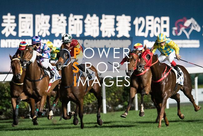 Jockey #7 Vincent Ho Chak-yiu riding Haymaker (C) during the race 4 of Hong Kong Racing at Happy Valley Race Course on November 29, 2017 in Hong Kong, Hong Kong. Photo by Marcio Rodrigo Machado / Power Sport Images