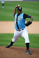 Syracuse Chiefs pitcher Jose Valverde (47) delivers a pitch during a game against the Pawtucket Red Sox on July 6, 2015 at NBT Bank Stadium in Syracuse, New York.  Syracuse defeated Pawtucket 3-2.  (Mike Janes/Four Seam Images)