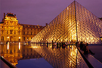 pyramid, Paris, Ile de France, The Louvre, France, Europe, The glass pyramid marks the entrance to the Musee du Louvre (Louvre Museum) in Paris in the evening.