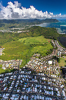 An aerial view of He'eia, Windward O'ahu.