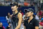 Xinyu Jiang (R) and Qianhui Tang (L) of China talks during the doubles Round Robin match of the WTA Elite Trophy Zhuhai 2017 against Alicja Rosolska of Poland and Anna Smith of Great Britain at Hengqin Tennis Center on November  03, 2017 in Zhuhai, China.  Photo by Yu Chun Christopher Wong / Power Sport Images