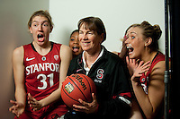 DENVER, CO--Toni Kokenis, Joslyn Tinkle, Amber Orrange, Lindy LaRocque and Head Coach Tara VanDerveer have fun with the cameras during media day at the Pepsi Center for the 2012 NCAA Women's Final Four in Denver, CO.
