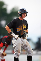 West Virginia Black Bears second baseman Mitchell Tolman (37) during a game against the Batavia Muckdogs on August 30, 2015 at Dwyer Stadium in Batavia, New York.  Batavia defeated West Virginia 8-5.  (Mike Janes/Four Seam Images)