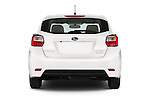 Straight rear view of a 2015 Subaru Base Impreza 5 Door Hatchback stock images