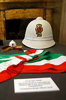The tricolor band and the traffic policeman helmet Alberto Sordi worn in occasion of his 80th birthday during the o opening of the actor's house museum in Rome. In occasion of the centenary of his  birth, the villa in the heart of Rome, where he lived from 1959 to death, was opened to the public, becoming a house-museum. The house still contains thousand of objects belonged to the actor. In the garden two more tensile structures were added, containing stage clothes, posters of his films, photos and much more. <br /> Rome (Italy), September 15th 2020<br /> Photo Samantha Zucchi Insidefoto
