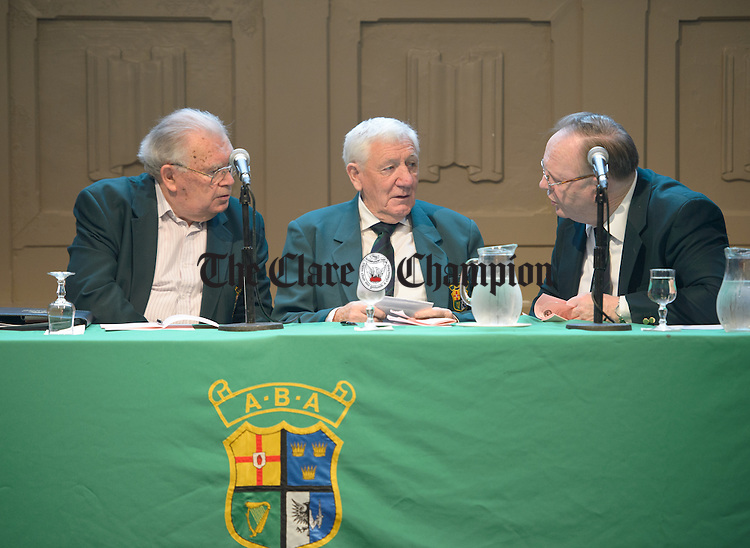 Sean Crowley secretary, Tommy Murphy, President and Sean Kavanagh, vice-President settle in for the Amateur Boxing Association AGM in the Temple Gate Hotel, Ennis. Photograph by John Kelly.