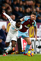 Nathan Dyer of Swansea City is tackled by Robbie Brady of Burnley during the Premier League match between Burnley and Swansea City at Turf Moor, Burnley, England, UK. Saturday 18 November 2017