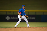 AZL Cubs 2 shortstop Henrry Pedra (12) during an Arizona League game against the AZL Rangers at Sloan Park on July 7, 2018 in Mesa, Arizona. AZL Rangers defeated AZL Cubs 2 11-2. (Zachary Lucy/Four Seam Images)