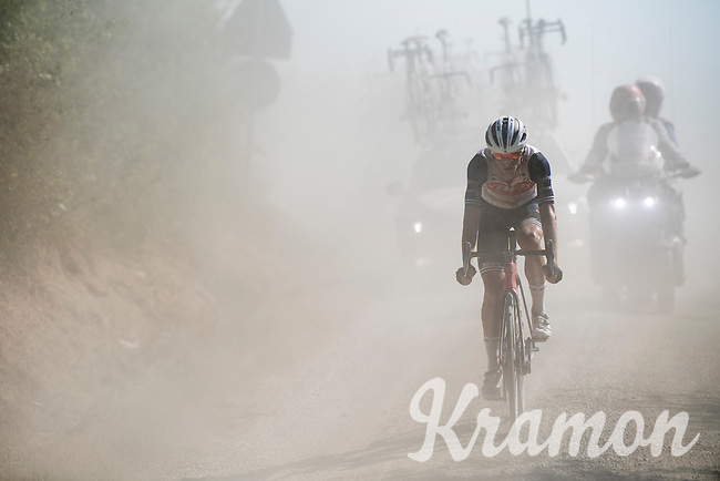 Giulio Ciccone (ITA/Trek-Segafredo)<br /> <br /> 14th Strade Bianche 2020<br /> Siena > Siena: 184km (ITALY)<br /> <br /> delayed 2020 (summer!) edition because of the Covid19 pandemic > 1st post-Covid19 World Tour race after all races worldwide were cancelled in march 2020 by the UCI