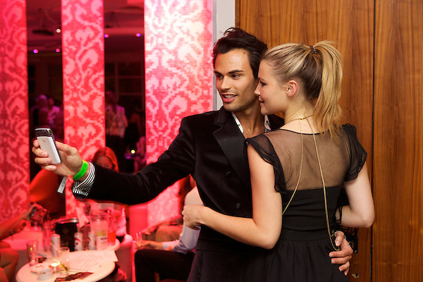 Mark-Francis and Amber Atherton from Made in Chelsea dancing at The Take Heart Ball, Kensington Roof Gardens, London